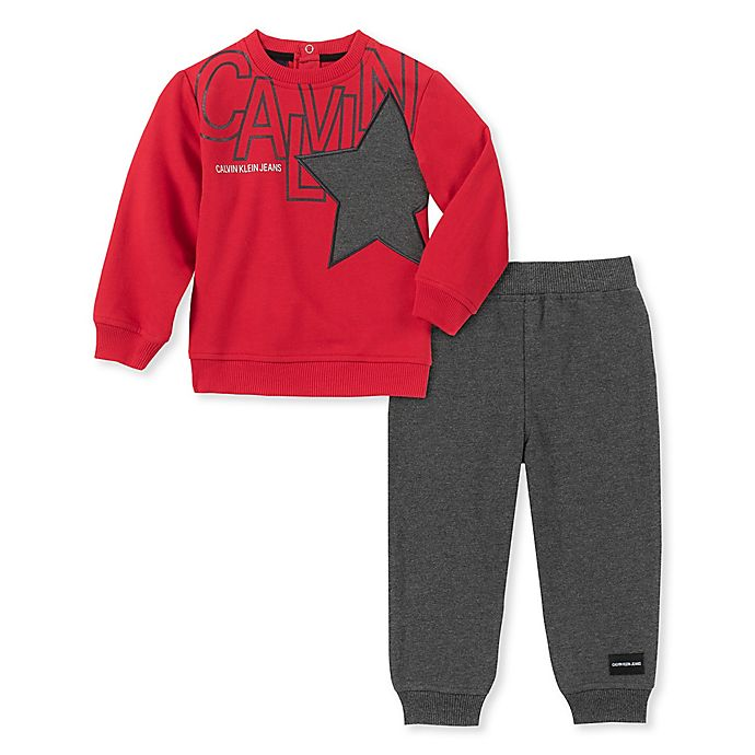 Alternate image 1 for Calvin Klein® 2-Piece Logo Top and Jogger Set in Red