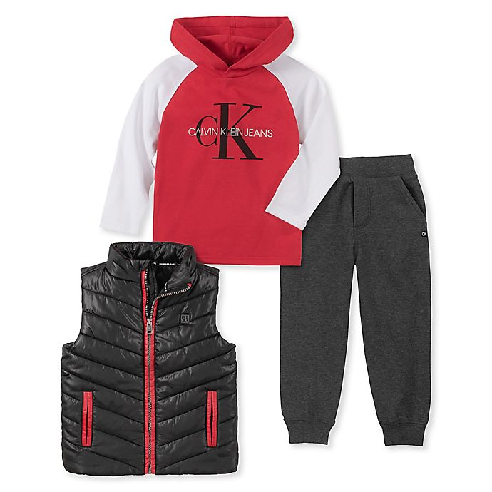 Alternate image 1 for Calvin Klein® 3-Piece Hoodie, Vest, and Pant Set in Red/Grey/Black