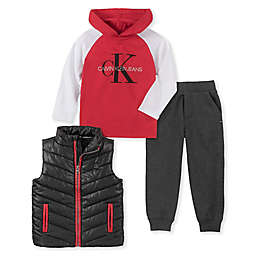 Calvin Klein® 3-Piece Hoodie, Vest, and Pant Set in Red/Grey/Black
