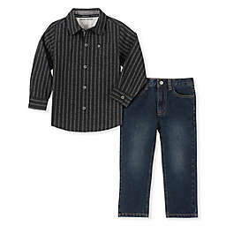 Calvin Klein 2-Piece Woven Toddler Shirt and Pant Set in Black