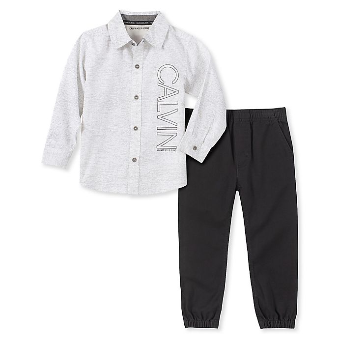 Alternate image 1 for Calvin Klein® 2-Piece Woven Shirt and Pant Set in Grey/White