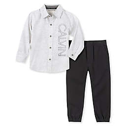Calvin Klein® 2-Piece Woven Shirt and Pant Set in Grey/White