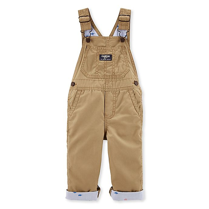 Alternate image 1 for OshKosh B'gosh® Khaki Overalls in Brown
