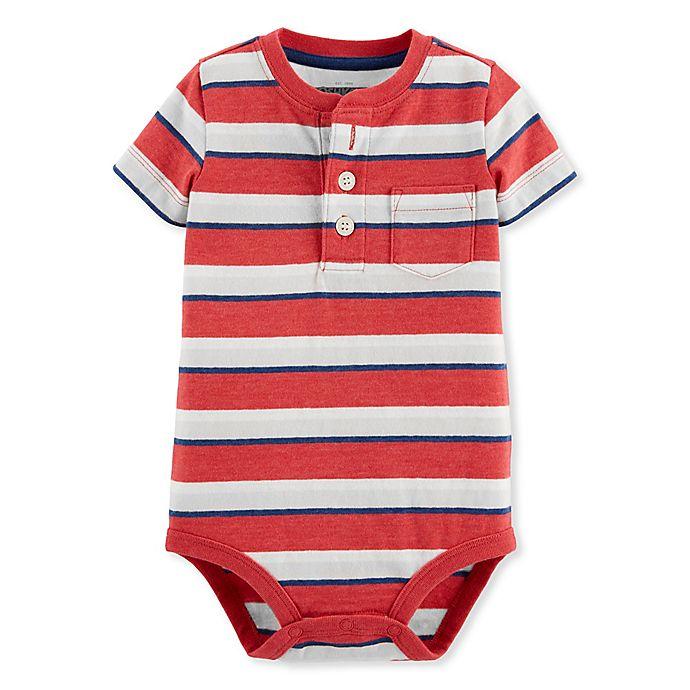 Alternate image 1 for Oshkosh B'gosh® Striped Henley Bodysuit in Red