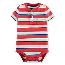 Oshkosh B'gosh® Striped Henley Bodysuit in Red