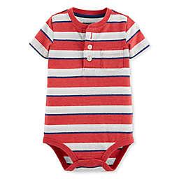 Oshkosh B'gosh® Striped Henley Bodysuit in Red