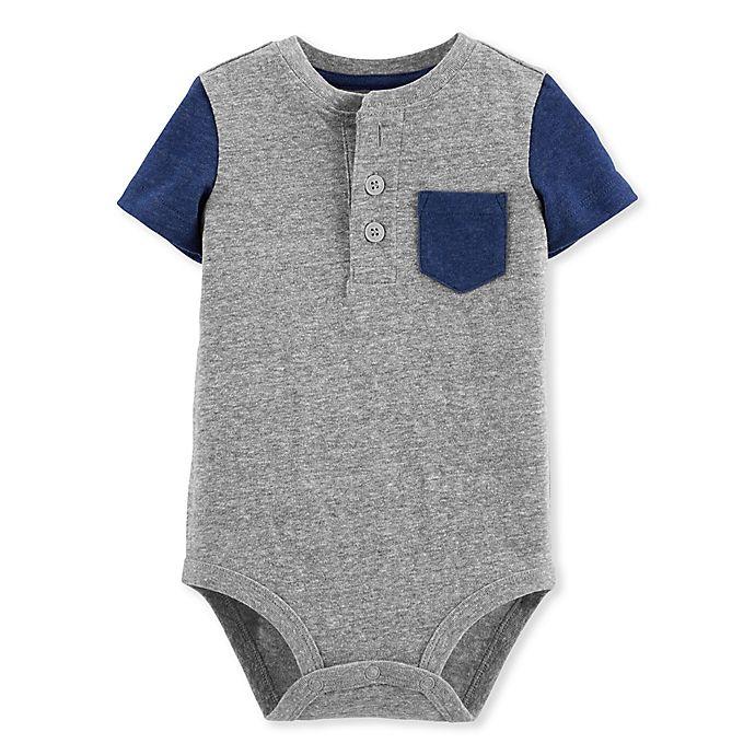 Alternate image 1 for OshKosh B'gosh® Henley Bodysuit in Grey