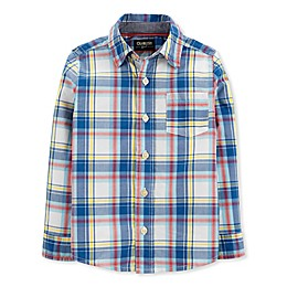 OshKosh B'gosh® Toddler Woven Plaid Shirt in Blue/Ivory