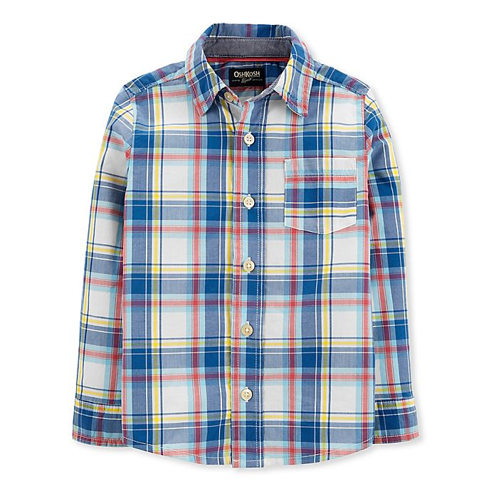 Alternate image 1 for OshKosh B'gosh® Toddler Woven Plaid Shirt in Blue/Ivory