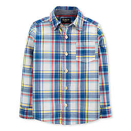 OshKosh B'gosh® Toddler Woven Plaid Shirt in Blue/Ivory