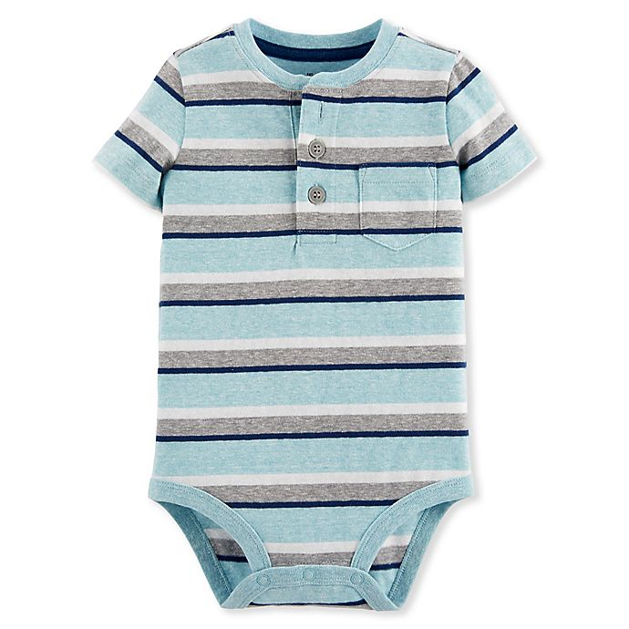 Alternate image 1 for Oshkosh B'gosh® Striped Henley Bodysuit in Blue