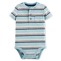 Oshkosh B'gosh® Striped Henley Bodysuit in Blue