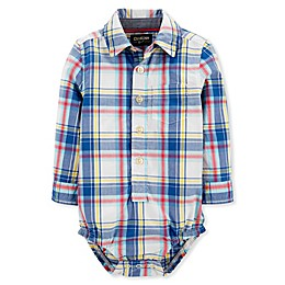 OsghKosh B'gosh® Woven Plaid Bodysuit in Blue/Ivory