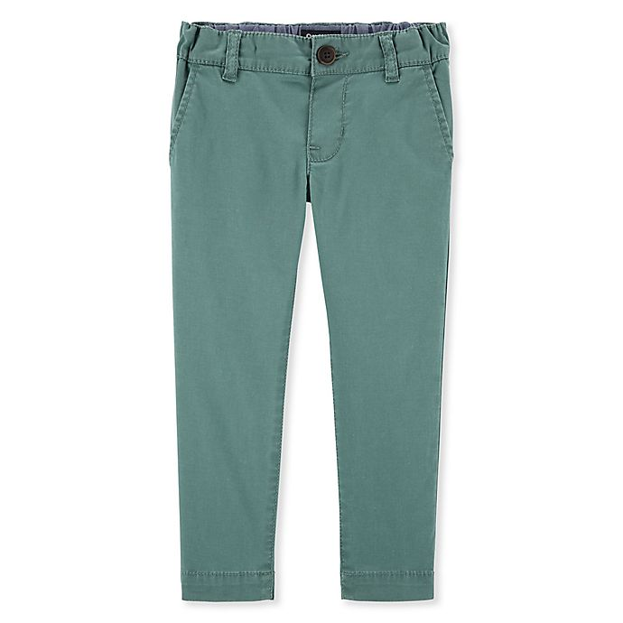 Alternate image 1 for OshKosh B'gosh® Toddler Twill Pants in Seafoam Green