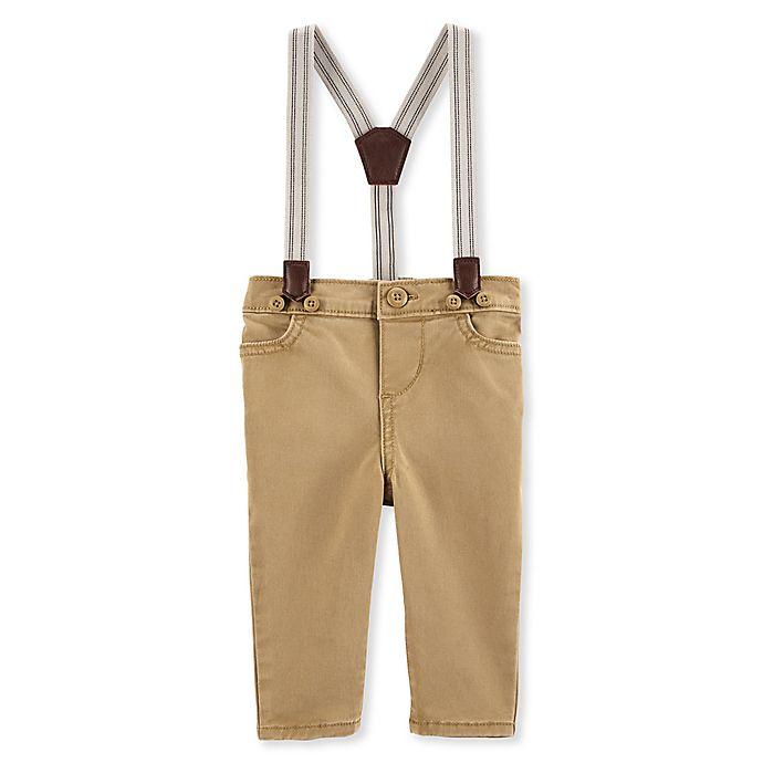 Alternate image 1 for OshKosh B'gosh® Size 3M Khaki Suspender Pants in Brown