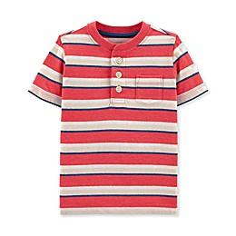 Oshkosh B'gosh® Striped Henley Toddler Shirt in Red