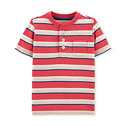 Oshkosh B'gosh® Striped Henley Toddler Shirt in Red