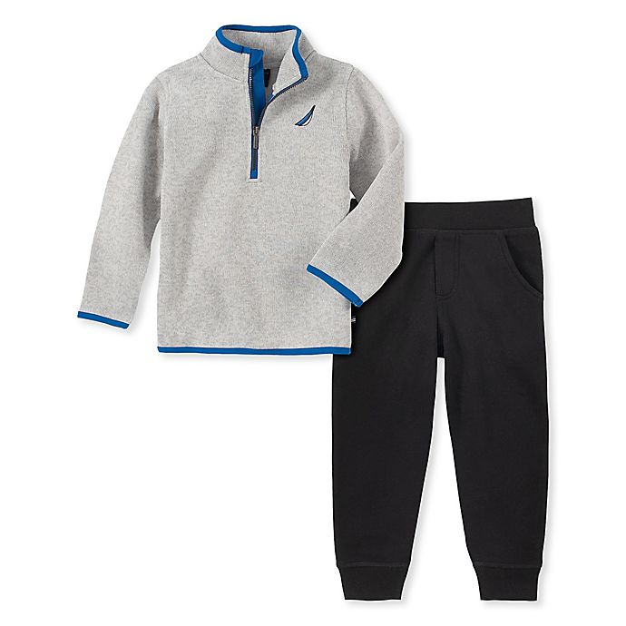 Alternate image 1 for Nautica® 2-Piece Fleece Sweater and Pant Set in Grey