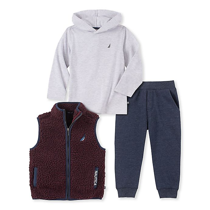 Alternate image 1 for Nautica® 3-Piece Sherpa Vest, Hooded Top and Jogger Set in Burgundy