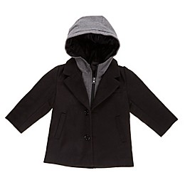 Only Kids Faux Wool Toddler Peacoat with Hood in Black