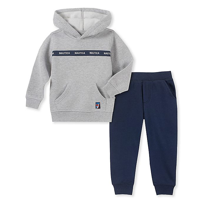 Alternate image 1 for Nautica® 2-Piece Fleece Hoodie and Jogger Set in Grey