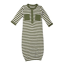 L'ovedbaby® Striped Organic Cotton Gown in Sage/White
