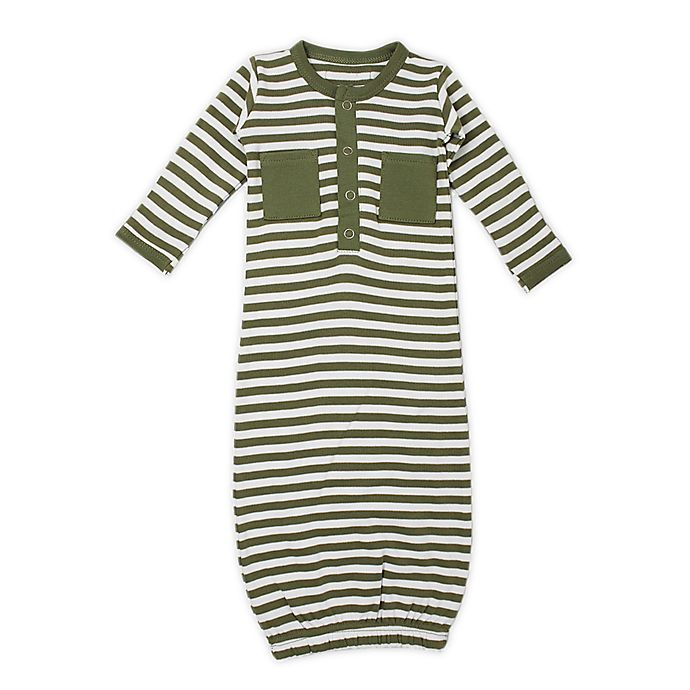 Alternate image 1 for L'ovedbaby® Striped Organic Cotton Gown in Sage/White