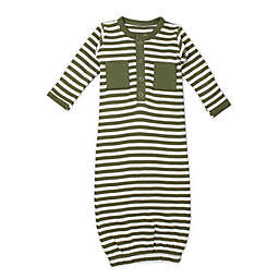 L'ovedbaby® Preemie Striped Organic Cotton Gown in Sage/White