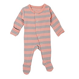 L'ovedbaby® Striped Organic Cotton Footie in Coral/Grey