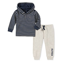 Tommy Hilfiger® 2-Piece Striped Thermal Top and Jogger Set in Navy