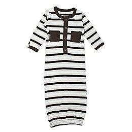 L'ovedbaby® Striped Organic Cotton Gown in Bark/White