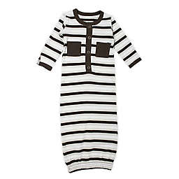 L'ovedbaby® Size 0-3M Striped Organic Cotton Gown in Bark/White