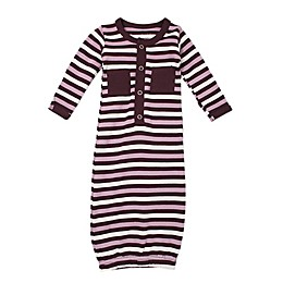 L'ovedbaby® Striped Organic Cotton Gown in Eggplant