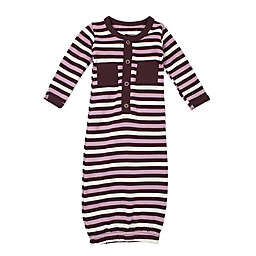 L'ovedbaby® Preemie Striped Organic Cotton Gown in Eggplant