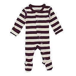 L'ovedbaby® Striped Organic Cotton Footie in Eggplant