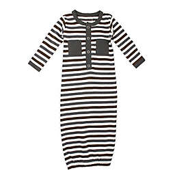 L'ovedbaby® Size 0-3M Striped Organic Cotton Gown in Grey
