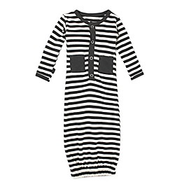 L'ovedbaby® Striped Organic Cotton Gown in Grey/Beige