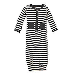 L'ovedbaby® Size 0-3M Striped Organic Cotton Gown in Grey/Beige