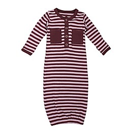 L'ovedbaby® Striped Organic Cotton Gown in Lavander/Eggplant