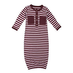 L'ovedbaby® Size 0-3M Striped Organic Cotton Gown in Lavander/Eggplant