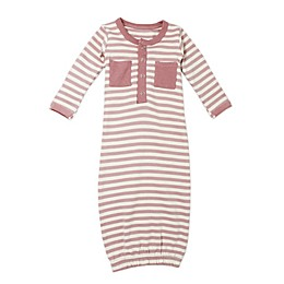 L'ovedbaby® Striped Organic Cotton Gown in Mauve/Beige