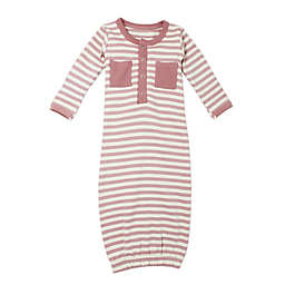 L'ovedbaby® Preemie Striped Organic Cotton Gown in Mauve/Beige