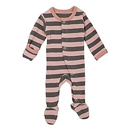 L'ovedbaby® Striped Organic Cotton Footie in Mauve/Grey