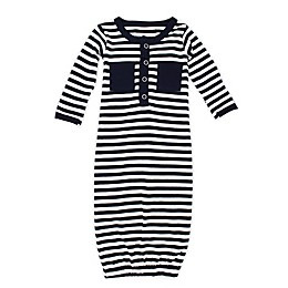 L'ovedbaby® Striped Organic Cotton Gown in Navy/White
