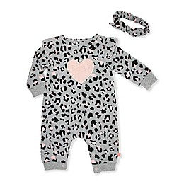 Mini Heroes™ 2-Piece Leopard Heart Coverall and Headband Set in Grey