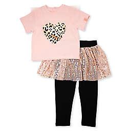 Mini Heroes™ 2-Piece Leopard Shirt and Tutu Legging Set in Pink