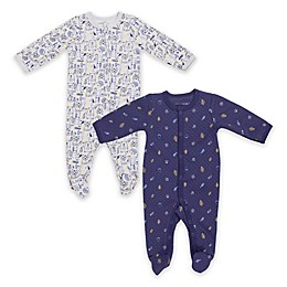 Vitamins Baby 2-Pack Quilted Woodland Footies in Navy/Grey