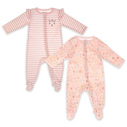 Vitamins Baby 2-Pack Floral Unicorn Footie in Pink
