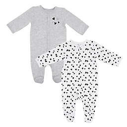 Vitamins Baby 2-Pack Quilted Hearts Footies in White/Grey