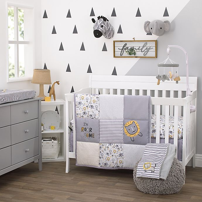 Alternate image 1 for Little Love by NoJo® Roarsome Lion Crib Bedding Collection in Yellow/Grey